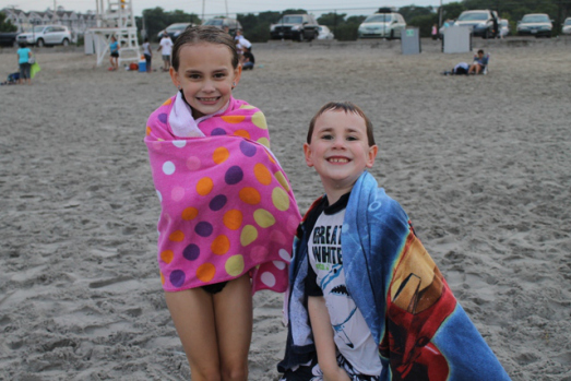 Maura and Evan braving the chilly temps at the beach.