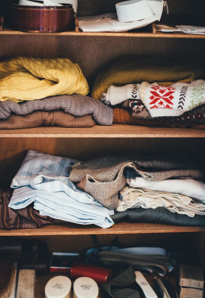 Part of your decluttering strategy should be to tackle clothing. Donate items you don't wear anymore.